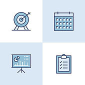 Business Plan Multi Color Icons