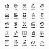 Outline Icon Set of Education