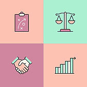 Company Values Multi Color Icons