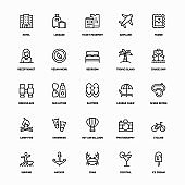 Holiday And Vacation Line Icons