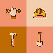 Construction Tools Multi Color Icons