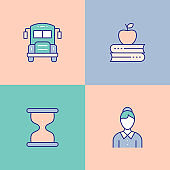 Education And School Multi Color Icons