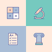 Education Multi Color Icons