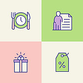 Employee Benefits Multi Color Icons