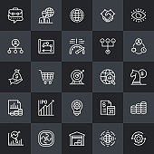 Business And Management Thin Line Icons