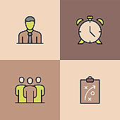 Employee Performance Multi Color Icons