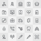 Medicine And Hospital Thin Line Icons