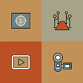 Film Industry Multi Color Icons