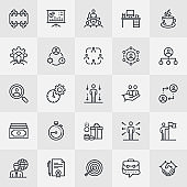 Career Management Thin Line Icons