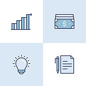 Financial Management Multi Color Icons