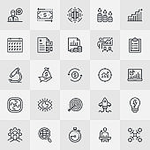 Financial Management Thin Line Icons