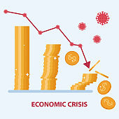Economic crisis concept due to pandemic of coronavirus covid-19. The down arrow hits the coins. Vector flat design
