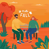 Love couple sitting on bench in autumn. Vector illustration in trendy flat style