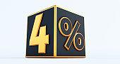 3D render of a golden four percenton black box, 3D discount boxes,