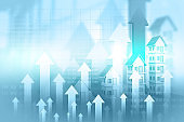 Real estate growth chart. 3d illustration