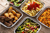 Take away healthy food in foil boxes