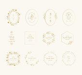 Set of elegant golden wedding frames. Fancy vintage borders. Vector isolated illustration.