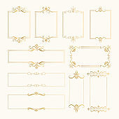 Set of vintage hand drawn frames. Golden rectangle borders. Vector isolated illustration.