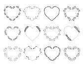 Set of hand drawn floral hearts. Nature wreaths. Vector isolated illustration.