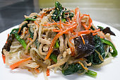 Korean food, homemade Japchae beef and glass noodles stir fried with vegetable