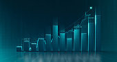 Chart of business data graph diagram and growth financial graphic report information on futuristic finance background with stock market economy infographic template.
