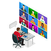 Isometric video conference. Group Corporate Video Conference. Online meeting work form home. Home office. Remote project management. Multiethnic business team.