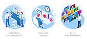 Isometric Expert team for Data Analysis, Business Statistic, Zoom video conference, Consulting, Marketing.