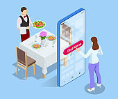 Isometric online order of a dietary menu in a restaurant. A woman chooses a healthy diet in the application on a smartphone.