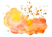 Watercolor stain and splash of autumn color.