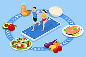 Isometric Fitness and Diet planning. Healthy eating, personal diet or nutrition plan from dieting expert. Nutrition consulting, diet plan. Excess weight