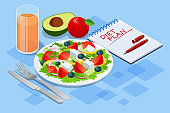 Isometric Diet programs, Diet Plan Concept. Nutrition diet, weight-management diet, individual dietary service concept. Healthy eating for weight control.