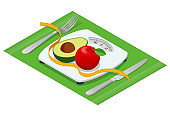 Isometric Bathroom Scales, red apple, avocado and centimeter to measure on white background, top view. Weight loss, healthy lifestyles, diet, proper nutrition.