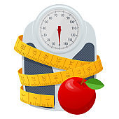 Bathroom scales, red apple and centimeter to measure on white background, top view. Weight loss, healthy lifestyles, diet, proper nutrition.