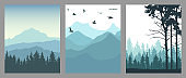Silhouette of coniferous forest, mountains and flying birds. Set of vertical posters. Beautiful landscape, nature. Vector illustration