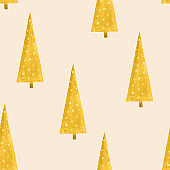 Seamless pattern golden Christmas fir tree on champagne background