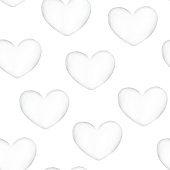 White heart watercolor seamless pattern.