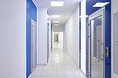 long corridor in the hospital. No people.