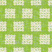 Vector green fun daisy flowers medium squares repeat pattern with canvas background. Suitable for textile, gift wrap and wallpaper.