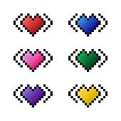Set of vector pixel art icons colorful hearts. Red, pink, purple, blue, green, yellow heart pictures on the white background. Elements for game, design, illustrations in cartoon style
