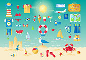 Icons collection set of planning a summer vacation