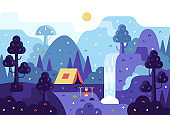 Vector cartoon panorama illustration, background for summer camp, nature tourism, camping or hiking design concept