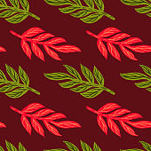 Foliage abstract seamless pattern with pink and green colored leaves branches silhouettes. Maroon background.