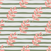 Pastel pink leaves branches elements seamless pattern. Grey striped background. Nature botanic backdrop.