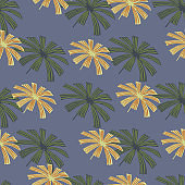Beige and green colored palm licuala leaf seamless pattern. Blue background. Hand drawn style.