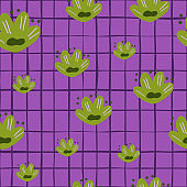 Random bright green childish flowers seamless pattern. Purple chequered background. Abstract kids print.