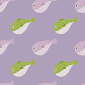 Scrapbook aqua seamless pattern with grey and green colored puffer fish print. Pastel purple background.