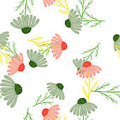 Isolated nature seamless pattern with pink and green random chamomile flowers. White background.