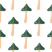 Doodle seamless pattern with green magic mushrooms silhouettes. White background.
