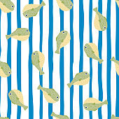 Tropic pufferfish seamless pattern with green colored fugu ornament. White and blue striped background.