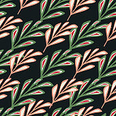 Pink and green colored bright stylized branches foliage ornament. Black background. Abstract style.